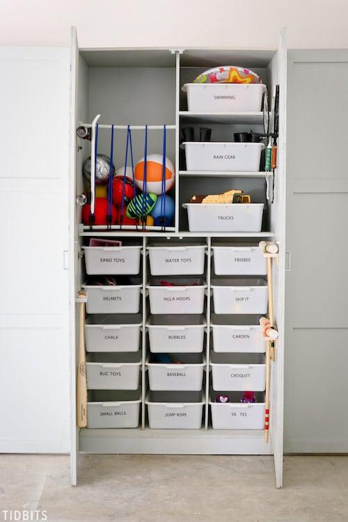 Garage Toy Storage using dresser and bins