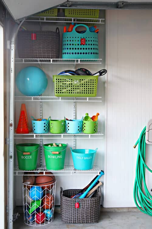 Outdoor Toy Storage using ventilated shelving