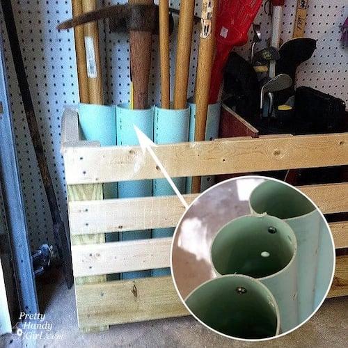 DIY Yard Tool Organization using pipes