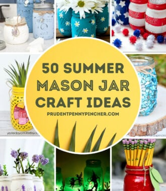 collage of various summer mason jar crafts