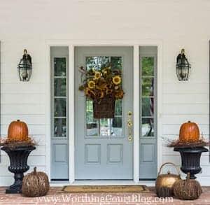 Pumpkin Topiary next to front door