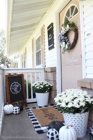 Black and White Fall Porch