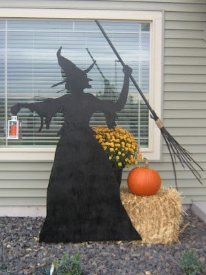 DIY Witch Silhouette in front of house