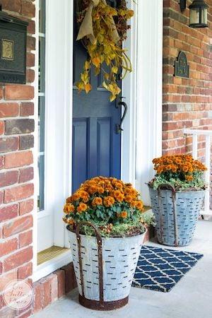 Fall Mums in Olive Bucket in front of door