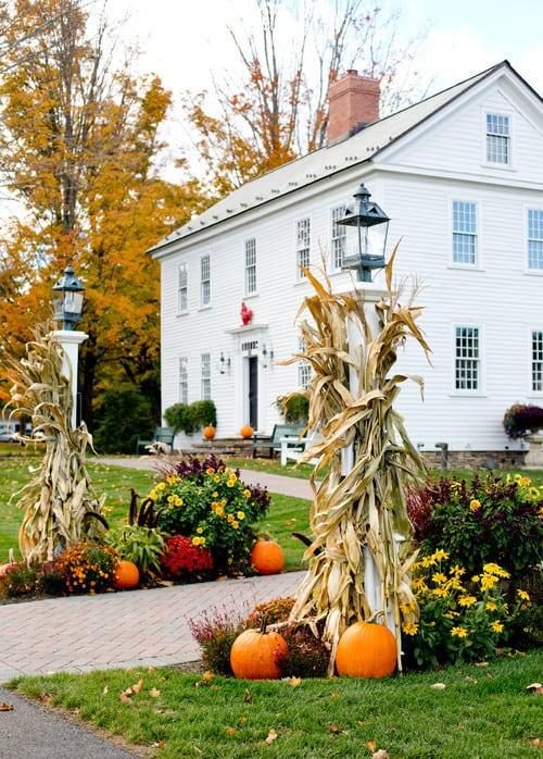 cornstalk lamp post decorations for fall