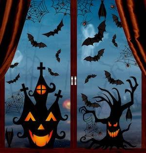 spooky halloween window clings