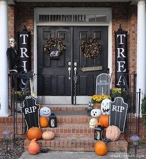 trick or treat halloween door decorations