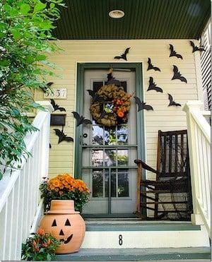 bats on front door for halloween