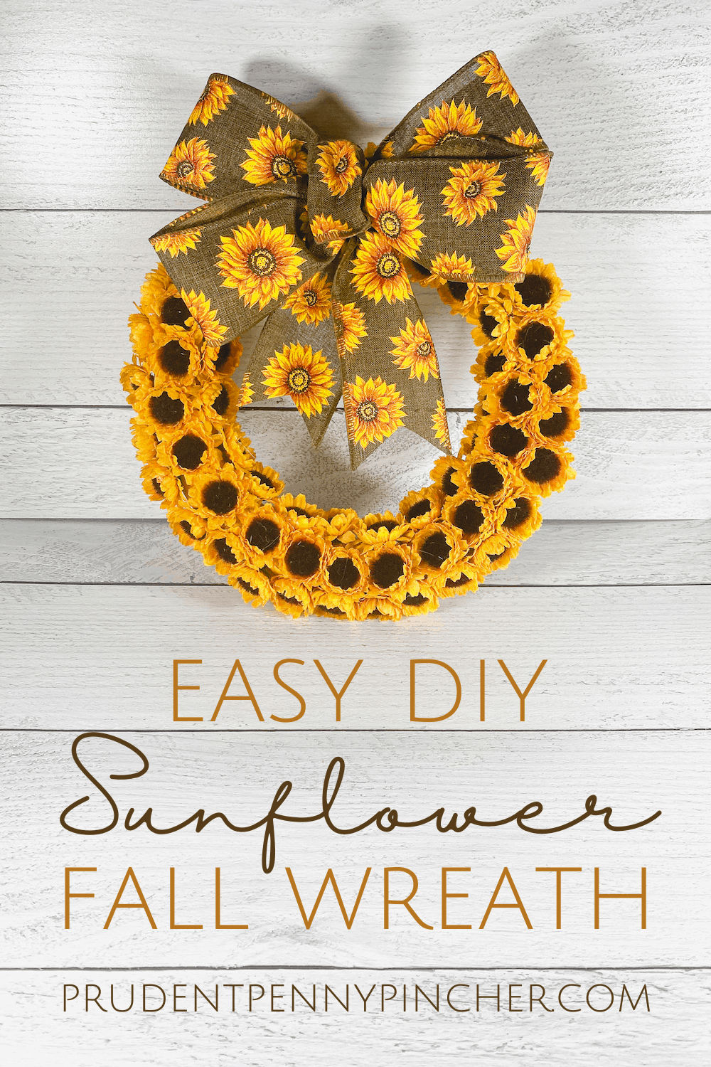 DIY sunflower wreath with florals and a burlap bow