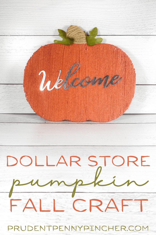 vertical image of DIY dollar tree pumpkin craft