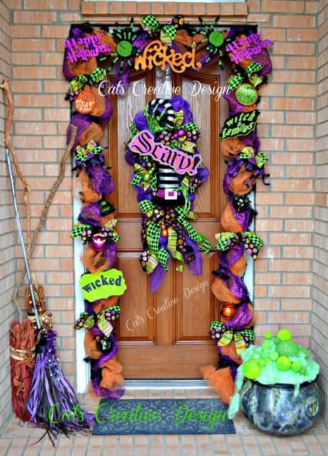 orange sparkle tulle and purple ribbon halloween door decorations
