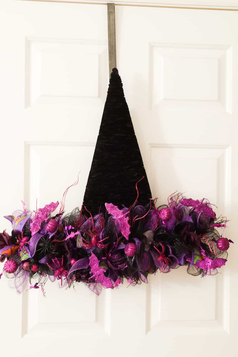 black and purple DIY witch hat wreath