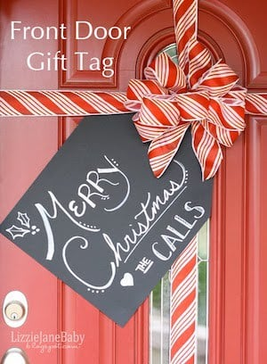 Front Door Christmas Gift Tag Decoration