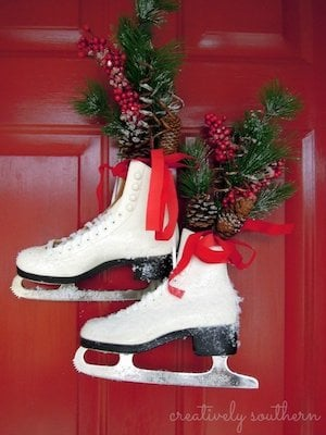Front Door Decorating With Ice Skates for Christmas