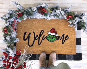 Grinch welcome mat Christmas Decoration