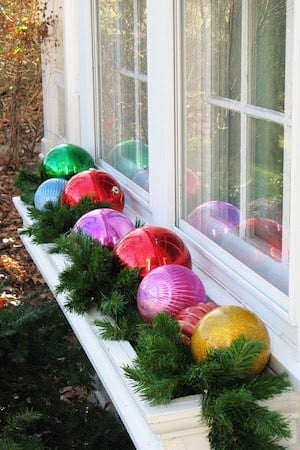 Ornaments and Garland in Window Box Planter